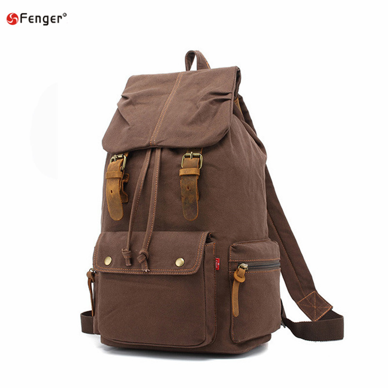 Vintage Leather military Canvas backpack Mens backpack school bag drawstring backpack 2017 bagpack rucksack van mochila escolar<br><br>Aliexpress