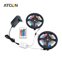 5M Or 10M 2835 SMD RGB LED Strip light String Ribbon Decor lamp Tape with 24Keys IR Remote Controller + 12V 3A Power Adapter Kit