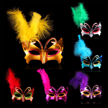 Hot sale Feather Butterfly Gold dust Mask Halloween Prom decoration Mask Festive & Party Feather Butterfly Mask Supplies  Mj003