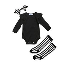 Newborn Infant Baby Girl Clothes Sets Cotton Bodysuit Tops Long Sleeve Socks Leg Warmer Clothes Striped Clothing Outfits(China)