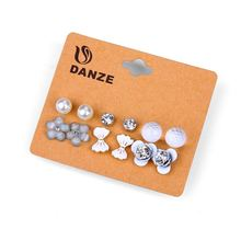 DANZE 6 Pairs /lot Crystal Heart Bowknot Stud Earring Set Women Claires Butterfly simulated Pearl ear studs Brincos Jewelry(China)