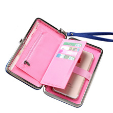 New Women Long Wallets Purse Female Candy Color Bow Cellphone Money Bag For Women Coin Clutch Bag Card Holders Carteira Feminina(China)