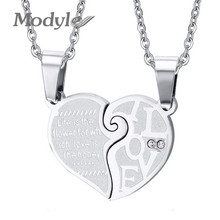 Modyle Vintage Wedding Necklace Pendant Set His & Hers Matching Heart Couple Women Men(China)