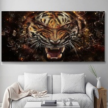 5D DIY Diamond Painting cross stich Fierce tiger Pictures Fully Resin round rhinestone Diamond embroidery animals backdrop Home