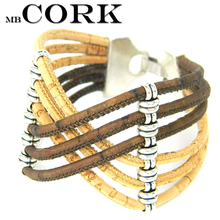 Portugal Cork bracelets,natural cork, Exaggerated style handmade bracelet, brown and wood color Environment-friendly B-736-A(Portugal)