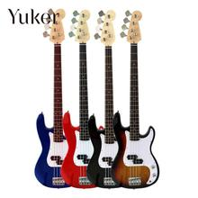 Yuker Wood Electric Bass Guitar Basswood Top Quality Handmade 4 strings red blue black coffee(China)