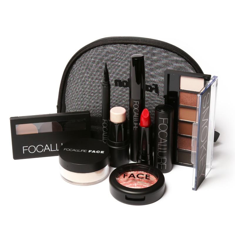 Focallure 8pcs/set Pro Face Make Up Tool Kit Warm Nude Cosmetics Including Eyeshadow Lipstick Eyebrow Blusher Makeup Bag Set<br>