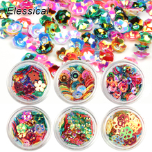 ELESSICAL Holographic Cute Flowers Sequins Polishing For Nails Sparkles Acrylic Powders Nail Glitters Nail Art Decoration WY936