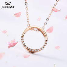 18K rose gold diamond circle necklace female pendant clavicle chain girlfriend gift trendy party 2017new hot sell Support Custom