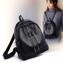 soft leather Female women backpack preppy style school Lady girl student  school laptop bag mochila bolsas 351314324e