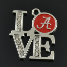 HAEQIS Red Enamel Sporty Charms Alloy Love Alabama Crimson Tide Pendant Charms 10pcs AAC582(China)