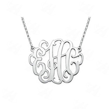 Custom Name Monogram Necklace Silver Plated Pendant Necklace, Necklace Women, Best Friends Gift, Fashion Jewelry in Aliexpress(China)