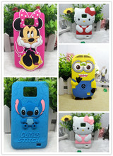 3D Cute Cartoon Hello kitty Minnie Stitch minions Silicone Soft Back Cover Phone Gel rubber Cases For Samsung Galaxy S2 i9100