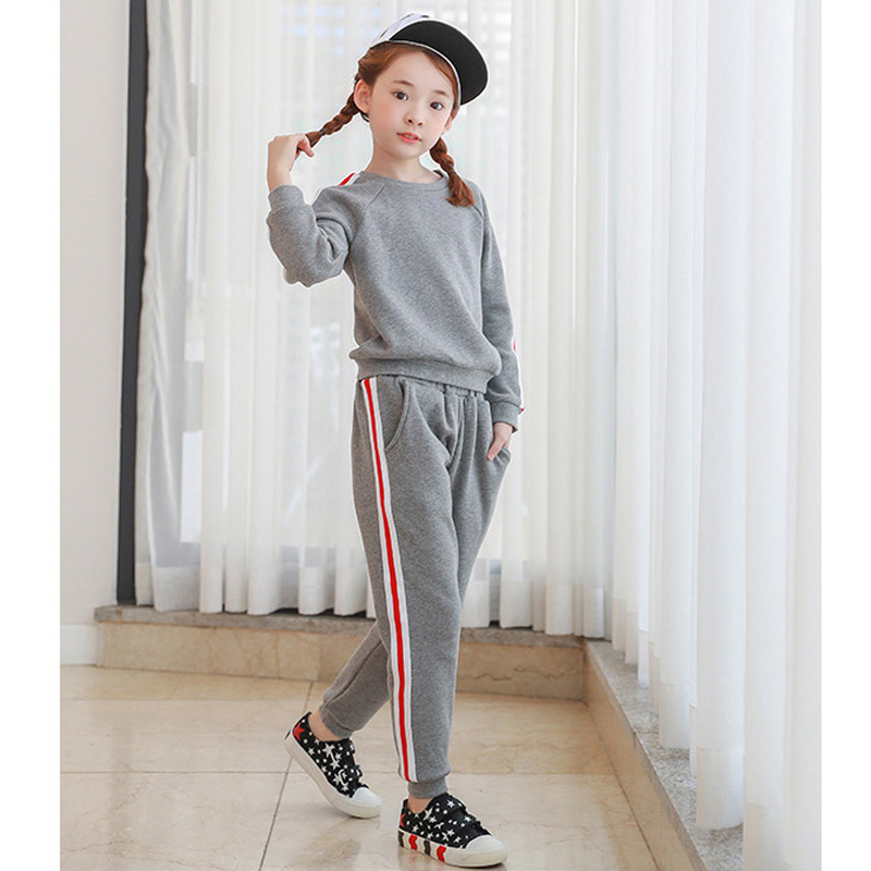 Children Winter Autumn Sports Clothing Sets For Girls Sweatshirt + Pants 2 Piece  Suits With Velvet Inside 5 6 8 10 12 14 Years<br>