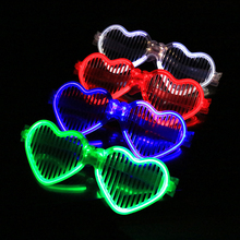 1pc Flash Party Glasses Novelty Heart Type LED Decoration Party Mask Supplies Wedding Celebration Tools Gifts Bars