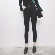 H.SA Spring Summer Fashion Korean Black Elastic Force Slim Jimpness Ankle Length Ninth Pants High Waist Black Trousers 2017