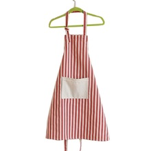 cute cotton and linen kitchen apron for woman stripe lace delantal cocina cooking apron(China)