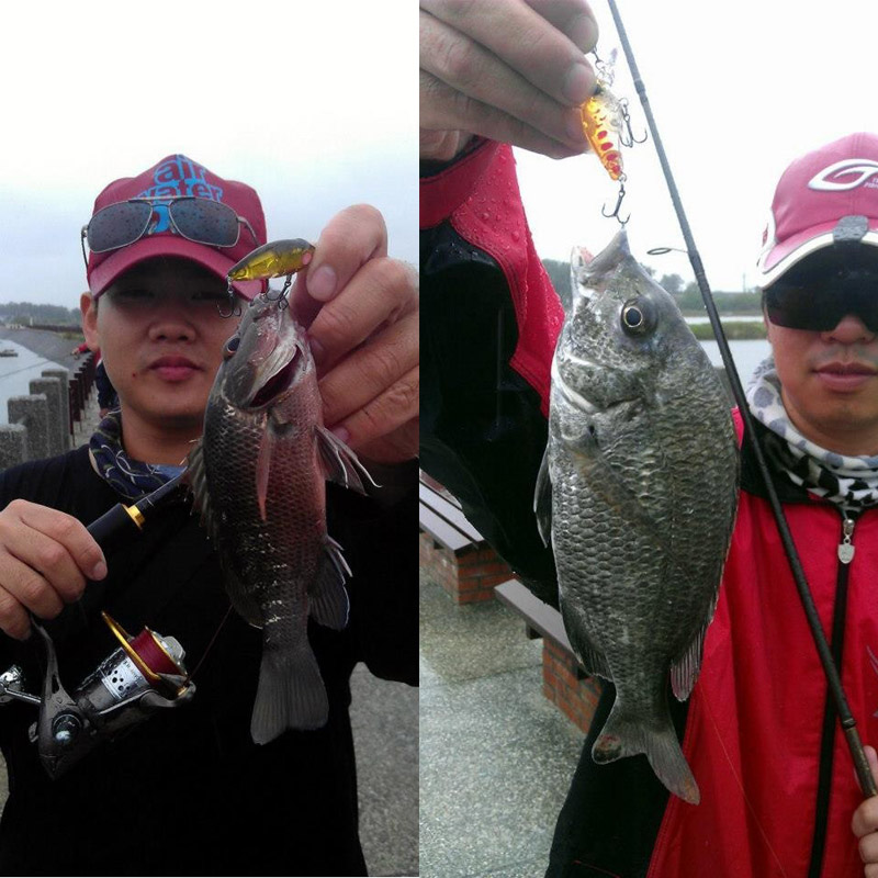 Trulinoya Fishing Lure DW24 35mm 3.5g 1.2m Mini Crank Fishing Lures Hard Bait Lure with Hooks Red/Green/Blue/Black 15