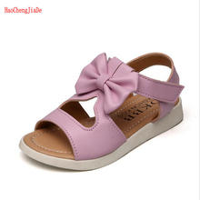 Buy Fashion Girls sandals 2018 Hot Sale Kids PU sandal Bowtie Children Shoes girls Flat baby Girls Soft princess beach Sandals for $5.32 in AliExpress store