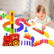 Domino Blocks Building Train Rack Up Knock Down Colored Pieces Educational Children Fancy Preschool Manipulative Math Game Toys