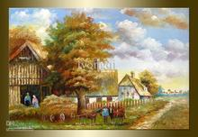 Hand-painted Hi-Q modern decorative Pastoral Country road Scenery impressionist arts oil painting on canvas