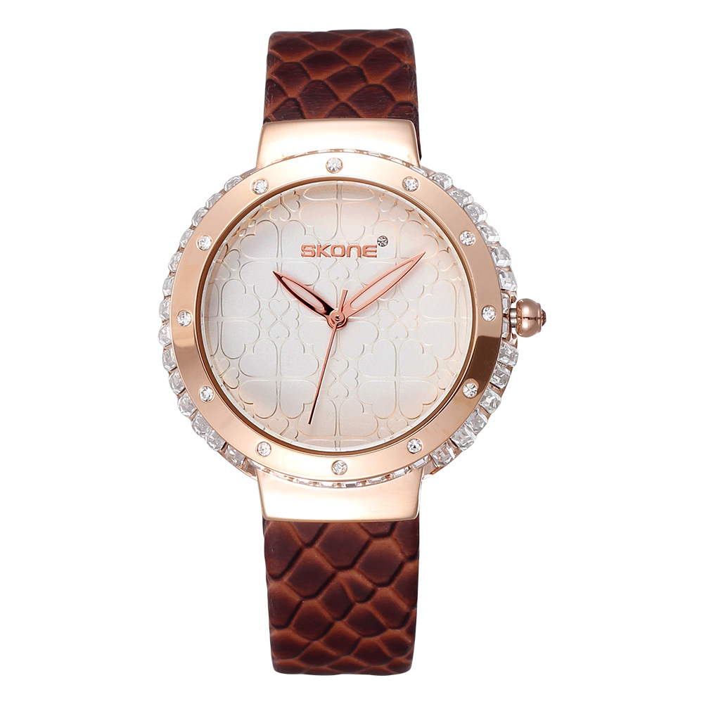 2017 Brand Skone Fashion Casual Quartz Leather Straps Rose Gold Crystal Diamonds Women Watches<br>