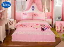 Flower Minnie Mouse Bedding Set Girl's Baby Bed Linen Sheet Disney Cartoon Cotton Applique Embroidery Full Queen Size Pink Color