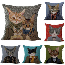 Cartoon Series Cushion Cover Cat Family Pillowcase Cotton Linen Car Sofa Bedroom Home Decor Square Throw Pillow Cushion Cover(China)