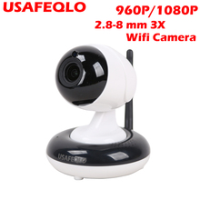 USAFEQLO 960P/1080P Full HD Wireless IP Camera CCTV WiFi Home Surveillance Security Camera System Indoor PTZ Camera 2.8-8mm 3X(China)