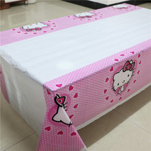 1 bag 10pcs Cartoon Hello Kitty table cloth theme supplies Party , 108x180cm Cartoon Tablecloth Child Kids Birthday Party Decor