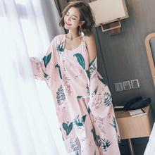 Summer Autumn Korean Lily Sexy Suspenders Wide Leg Pants Pajamas Sweet Beauty Cotton Silk Home Wear Three Suits(China)