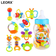 9 Piece Baby Lovely Gift Baby'S First Rattle And Teether Toy With Giant Milk Bottle Grasp Colorful Toys