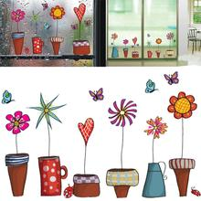 Brand New 2017 Wall Stickers Cute Flower Pot Butterfly TV Sticker DIY Decal Window glass decor Home Decoration kids children