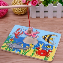 Baby Kids Magnetic Fishing Game + 3D Jigsaw Puzzle Board Wooden Educational Toy JUN12(China)