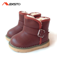 New Kids Winter Boots Boys Girls Snow Boot Plush Lined PU Leather Rubber Waterproof Boots Ugs Children Martin Sneakers Baby Shoe