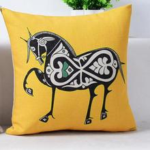 China Style Retro Color Auspicious Horse Linen Throw Pillow Home Chair Seat Backrest Waist Cushion Factory Supply(China)