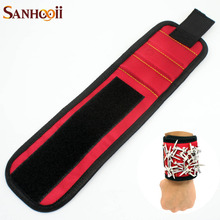 SANHOOII Nylon Strong Magnetic Magnet Wristband Wrist Bands for Screws Nails Nuts Bolts Drill Bit Holder DIY Woodworking Tools(China)