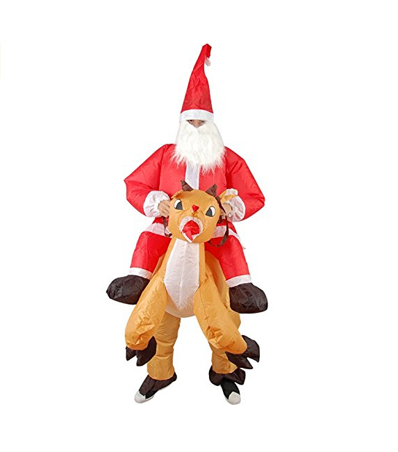 Inflatable Christmas Elk Costume Santa Cosplay Red Reindeer-Rider Suit For Adult