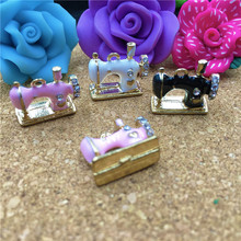 6PCS 3D Jewelry Pendant Charms Enamel Alloy Sewing Machine Bracelet Charms Rhinestone Crystal Gold TOne Oil Drop Charm