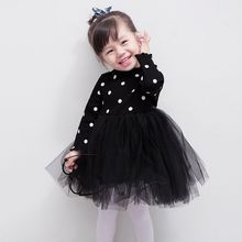 Sun Moon Kids Girl Dresses Turtleneck Long Sleeve Dots Mesh Ball Gown Dresses For Girls Casual 3 Colors Bow Toddler Dress(China)