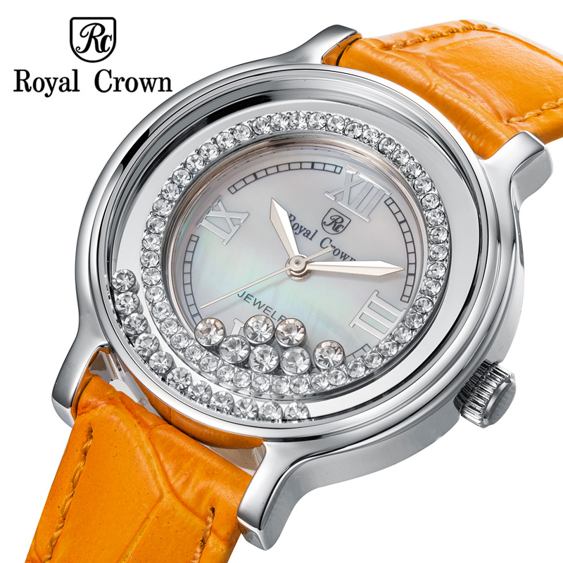 Royal Crown Womens Watch Japan Quartz Hours Fine Fashion Dress Clock Leather Shell Luxury Moving Rhinestones Girls Gift<br>