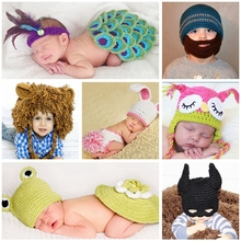 Lion Crochet Baby Winter Hat Photography Props,All Children Clothing and Accessories,Masked Knitted Beanie Caps Costume(China)