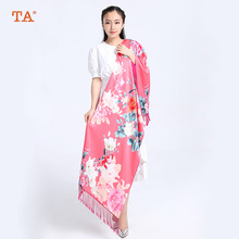 TA Hangzhou silk high - grade silk scarf silk double - velvet long paragraph scarf shawl gift Chinese national wind