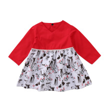 Xmas Baby Girls Long Sleeve Kids Tutu Party Wedding Animal Print Red Cute Pretty Dress Princess Clothes(China)