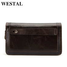 WESTAL Genuine Leather Men Wallets Double Zipper Male Wallet Men Purse Fashion Male Long Phone Wallet Man's Clutch Bags 9013(China)
