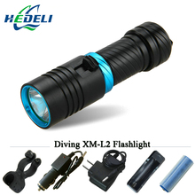 100M underwater diving flashlight led scuba flashlights light torch diver CREE XM-L2 Use 18650 OR 26650 rechargeable batteries(China)