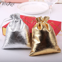 FENGRISE 100pcs 7x9 9x12cm Silver Golden Metallic Foil Cloth Organza Pouches Wedding Decoration Gifts Craft Candy Packaging Bags