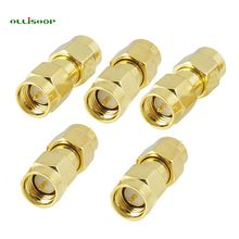 ALLiSHOP 1 Pcs Gold Tone SMA Male to Male Plug RF Coaxial Adapter Connector