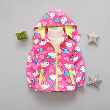 Kids Girls Jacket Spring Autumn Children Hoodies Hello Kitty Jackets Baby Girls Clothes Windproof Outerwear Coat 3-6T