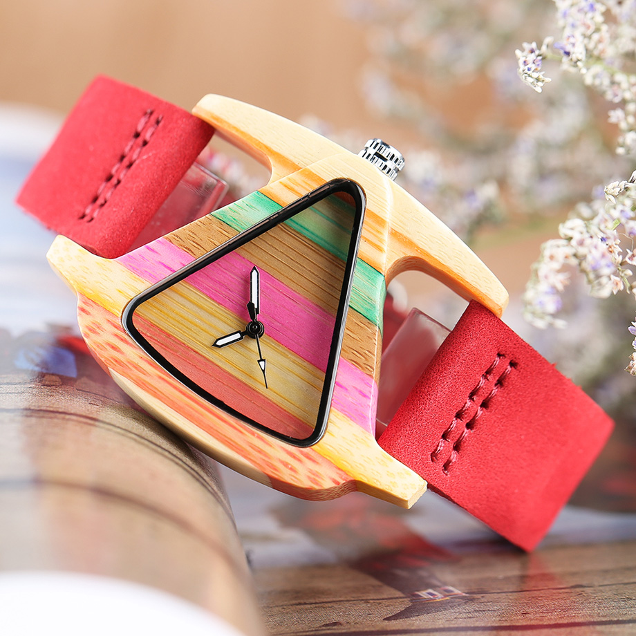 Creative Women Wood Watches Unique Colorful Wooden Triangle Hollow Quartz Wristwatch Ladies Elegant Fashion Genuine Leather Hour (22)